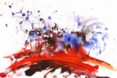 Feuer - Wasser.      Aquarell.           4/2003         51 x 61 cm