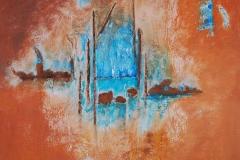 Landschaft mit Spiegelung            10/2013 Öl auf Holz,  verschiedene Materialien           50 x 50 cm
