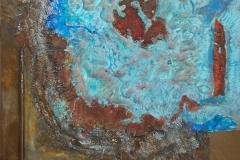 Landschaft in Vogelperspektive          10/2013 Eisen- und Kupferoxyd, Ölfarbe, verschiedene Materialien        50 x 60 cm
