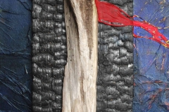 Schattenzeit.      Christus, weiblich.          04/2013         Ölfarbe, verschiedene Materialien auf Holz,        45 x 112 cm