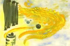 Fünf Wächter und das Licht            6/2004.        Öl auf Holz, 54 x 74 cm