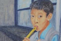Junger tibetischer Flötenspieler.          10/2014.     Öl auf Holz, 20 x 50 cm