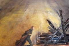 Flucht.      1/2017.    Öl auf Leinwand, 80 x 80 cm