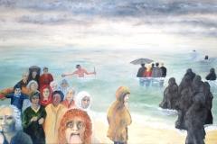 Menschenströme  -  Kommen und Gehen.      2/2018.        Öl auf Leinwand,  90 x 130 cm