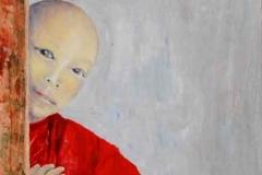 Junger tibetischer Mönch.          10/2014.    Öl auf Holz, 20 x 50 cm