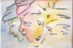 Drei Gesichter       Tuschezeichnung  aquarelliert,   3/2012