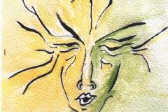 Gesicht  2           Tuschezeichnung  aquarelliert,   3/2012
