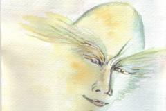 Gesicht, meditativ.         Tuschezeichnung  aquarelliert,   3/2012