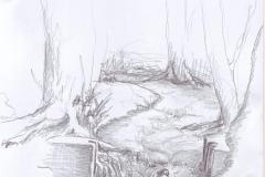Bach mit ehemaligem Wehr. Bleistiftzeichnung